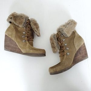 Marc Fisher Brown Leather Wedges Fur Booties Shoes